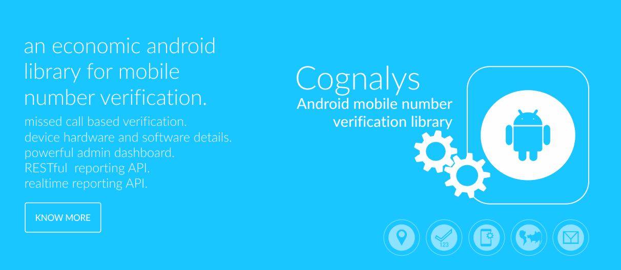 Cognalys - Free Mobile Number Verification Library For Mobile